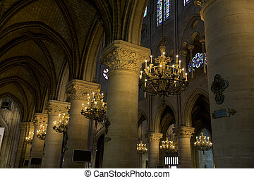 Paris - Interior view of Notre-Dame Cathedral, a historic...