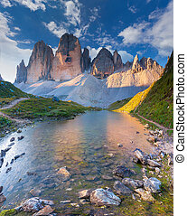 Colorful summer morning in Italy Alps, Tre Cime Di Lavaredo,...