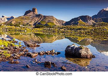 Colorful summer morning in Italy Alps, Tre Cime Di Lavaredo,...