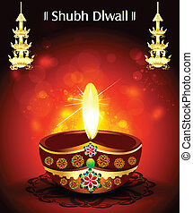 Shubh diwali Deepak Background vector illustartion