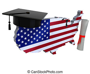 united states maps with Graduation Cap and Diploma, 3d...