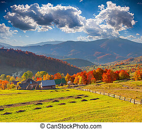Colorful autumn landscape in the mountain village