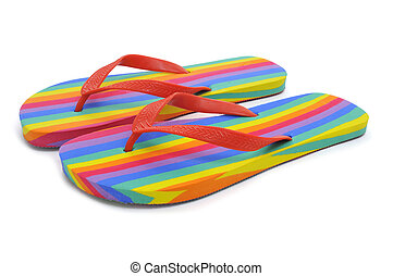 rainbow flip-flops - a pair of rainbow flip-flops on a white...