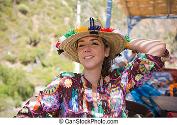 Tourist with traditional Rif hat - Caucasian woman with...
