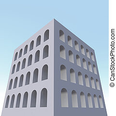 architecture building exterior windows 3d illustration