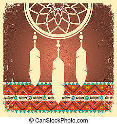 Dream catcher poster with ethnic ornament - Vector dream...
