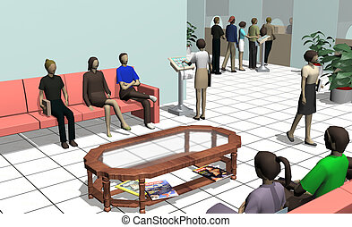 waiting room - 3d illustration of a waiting room