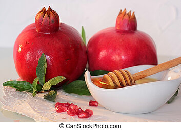 rosh hashanah symbols - honey and pomegranate - traditional...