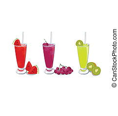 smoothies fruit on white background