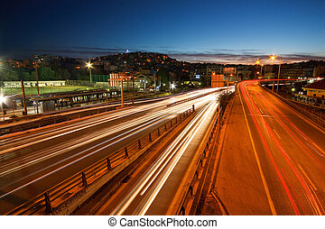 Athenian night traffic. - One of the main roads in the city...