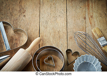 kitchen utensil - various kitchen utensils on wooden table