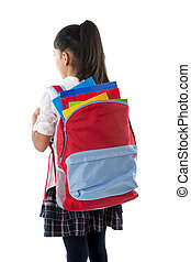 sweet little schoolgirl carrying very heavy backpack or...