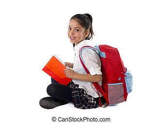 happy latin child reading textbook or notepad smiling...