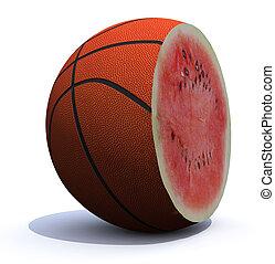 basket ball cut inside a watermelon
