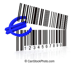 bar code as an open mouth with Euro symbol
