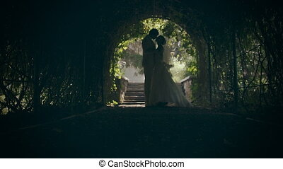 Silhouettes of lovers embracing, man and woman looking at each other