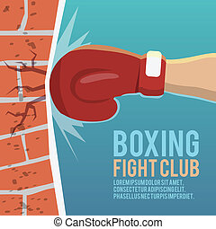 Boxer gloves hitting poster - Boxer gloves hitting brick...
