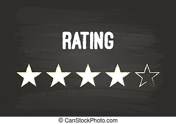 Four Star Rating On Blackboard With White Chalk