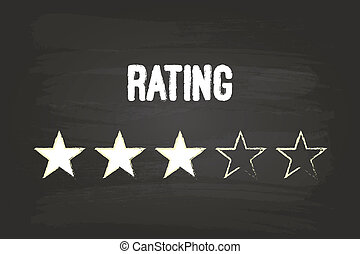 Three Star Rating On Blackboard With White Chalk