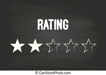 Two Star Rating On Blackboard With White Chalk