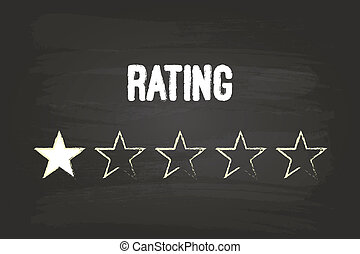 One Star Rating On Blackboard With White Chalk