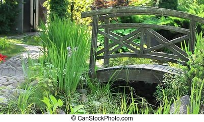 Garden Landscape with bridge