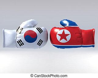 Boxing gloves with Korean flag, 3d illustration