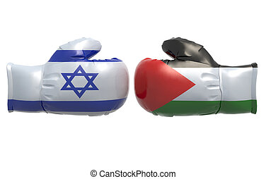 Boxing gloves with Israel and Palestine flag, 3d...