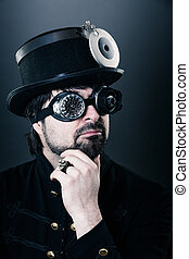 Steam punk man thinking - man with steam punk outfit,...