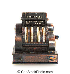 cash register - copper old cash register isolated over white