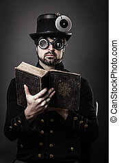 philosophize in steam punk - man in steampunk outfit with a...