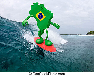 brasilian map with arms and legs on surf board, 3d...