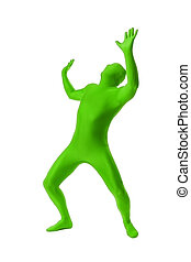 man in a green body suit - A handsome man in a green body...