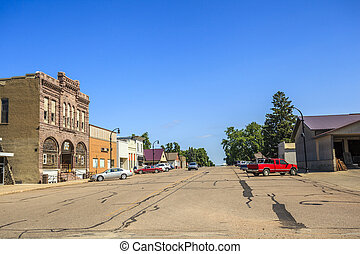 Main road in regular town of central states, Iowa. - Main...