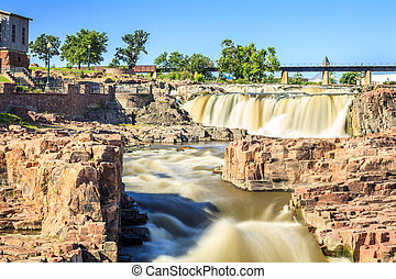 Waterfalls in Sioux Falls, South Dakota, USA - Beauty of...