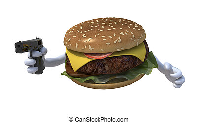 hamburger with hands and gun, 3d illustration