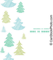 Green blue Christmas trees silhouettes textile vertical frame seamless pattern background