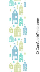 Houses blue green textile texture vertical seamless pattern...