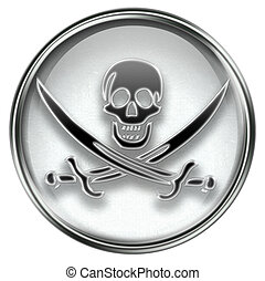 Pirate icon grey, isolated on white background.