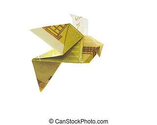 banconote,  200,  euro, Uccelli,  Origami