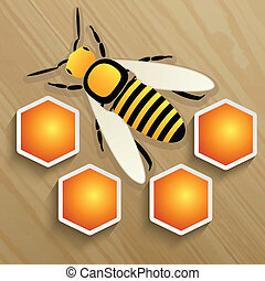 Bee and honeycomb on a tree Vector illustration