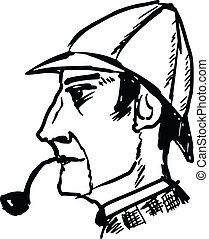 Sherlock Holmes - hand drawn, sketch, doodle illustration of...