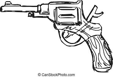 revolver - hand drawn, sketch, doodle illustration of...