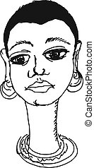 African girl - hand drawn, sketch, doodle illustration of...