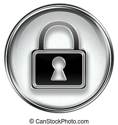 Lock icon grey, isolated on white background.