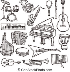 Musical instruments sketch icon - Music instruments sketch...