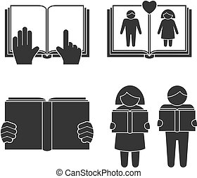 Book reading icons set with black people silhouettes...