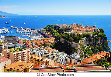 View of the harbor and Prince's Palace of Monaco on French...