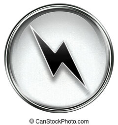 Lightning icon grey, isolated on white background.