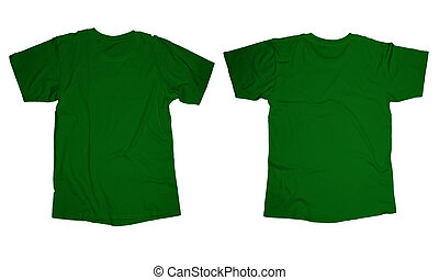 Green T-Shirt Template - Wrinkled blank green t-shirt...
